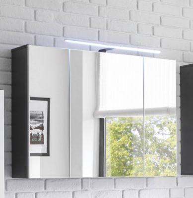 Spiegelschrank weiss/ grau mit LED-Aufsatzleuchte Jetzt bestellen