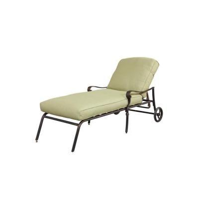 Hampton Bay Edington Patio Chaise Lounge With Celery Cushion