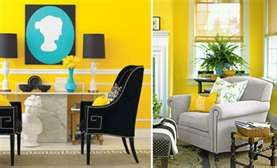 #yellow #walls #bold #aqua #artwork #black #chair #interior design