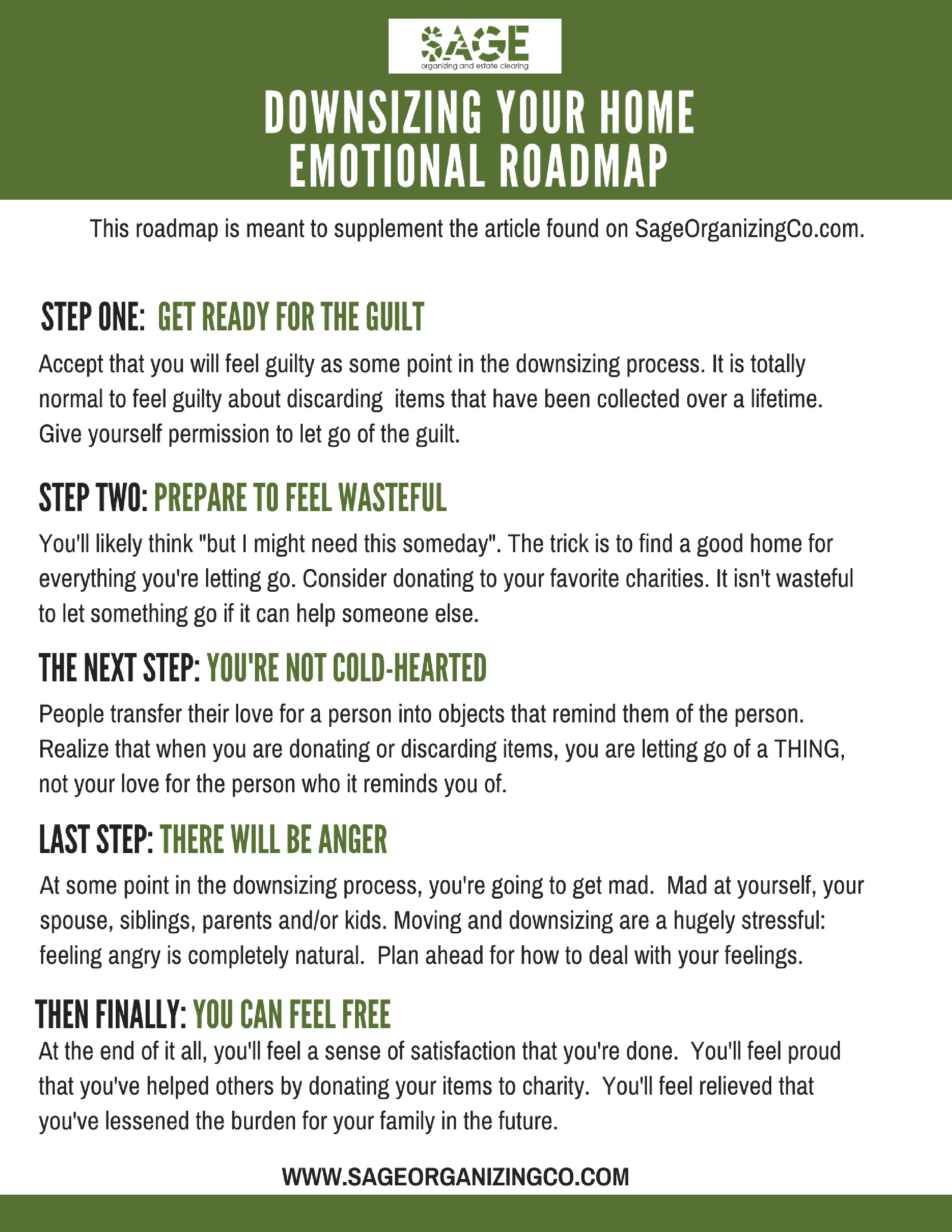 Downsizing Your Home Emotional Roadmap