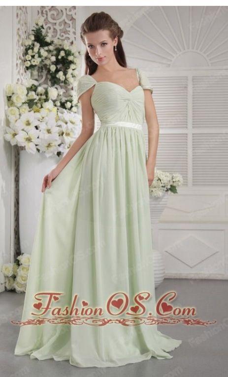 Empire chiffon apple green bridesmaid dress