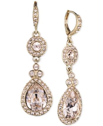 ec4653e57 Givenchy Earrings, Silver-Tone Swarovski Element Double Drop Earrings - Gold