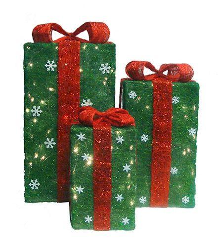 Set of 3 Tall Green Sisal Gift Boxes Lighted Christmas Yard Art Decorations | Christmas yard art ...