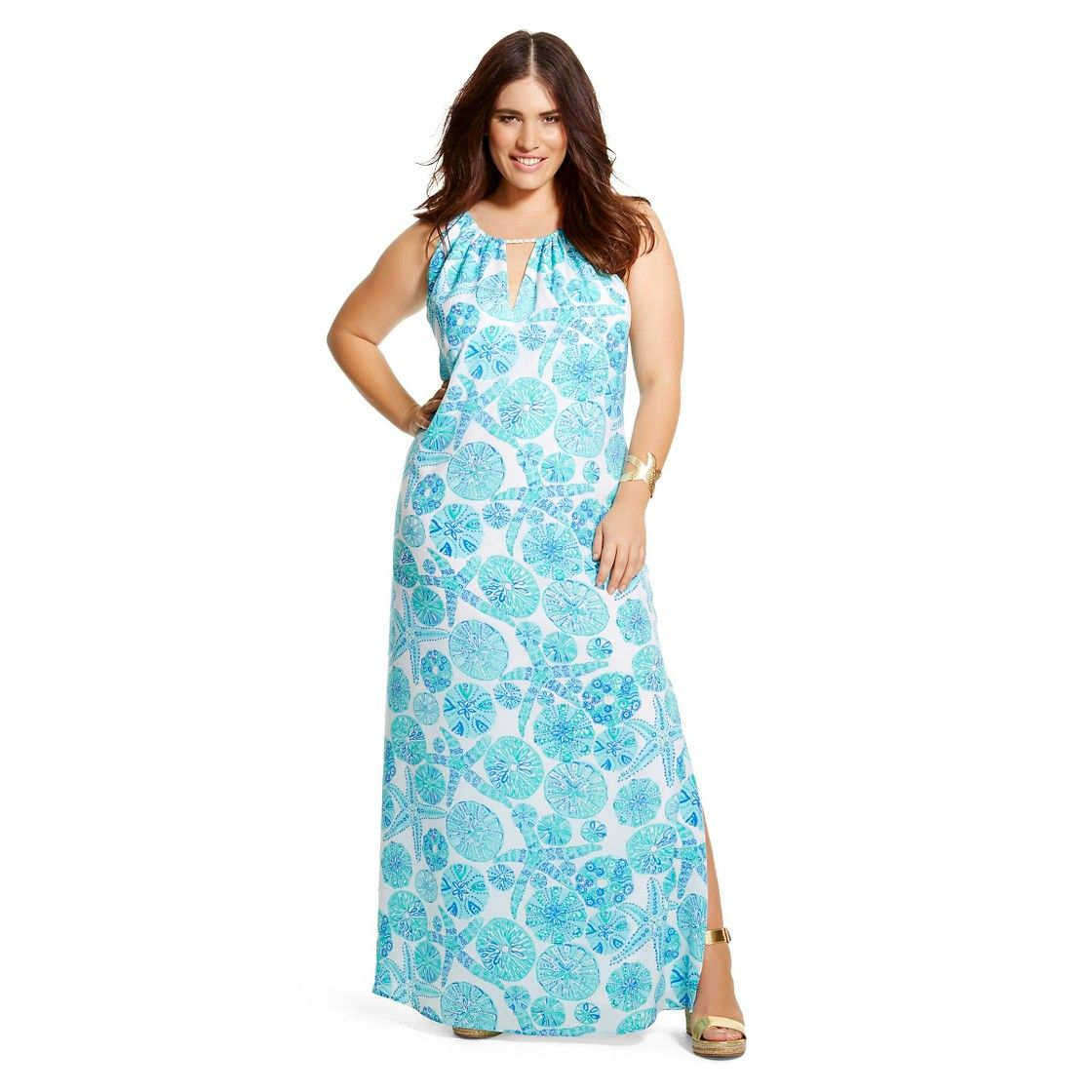 Lilly Pulitzer For Target Womens Plus Size Satin Halter Maxi Dress