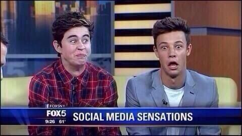 It's like on the news Social Media Sensations. But then you look at the screen and see to teenagers making silly faces
