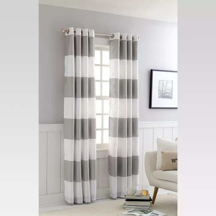 Bold Curtain Panel Threshold In 2020 Stripe Curtains Living Room Stripe Curtains Bedroom Curtains For Grey Walls