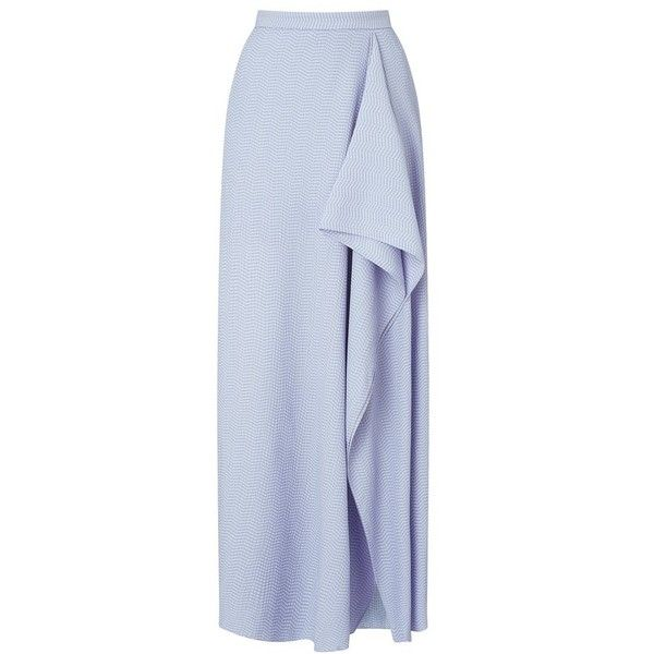 Roland Mouret Upton Skirt ($1,585) ❤ liked on Polyvore featuring skirts, lavender, maxi, long blue skirt, long summer skirts, long blue maxi skirt, lavender maxi skirt and blue maxi skirt