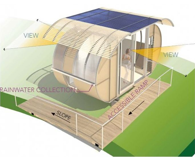 'house arc' is a modular, prefab housing system developed by palo alto, california-based bellomo architects.  designed to be 100% off the grid, the 150-square-foot unit can be flat-packed and shipped in a box that is 4x10x3 feet in size. considered a model for compact living