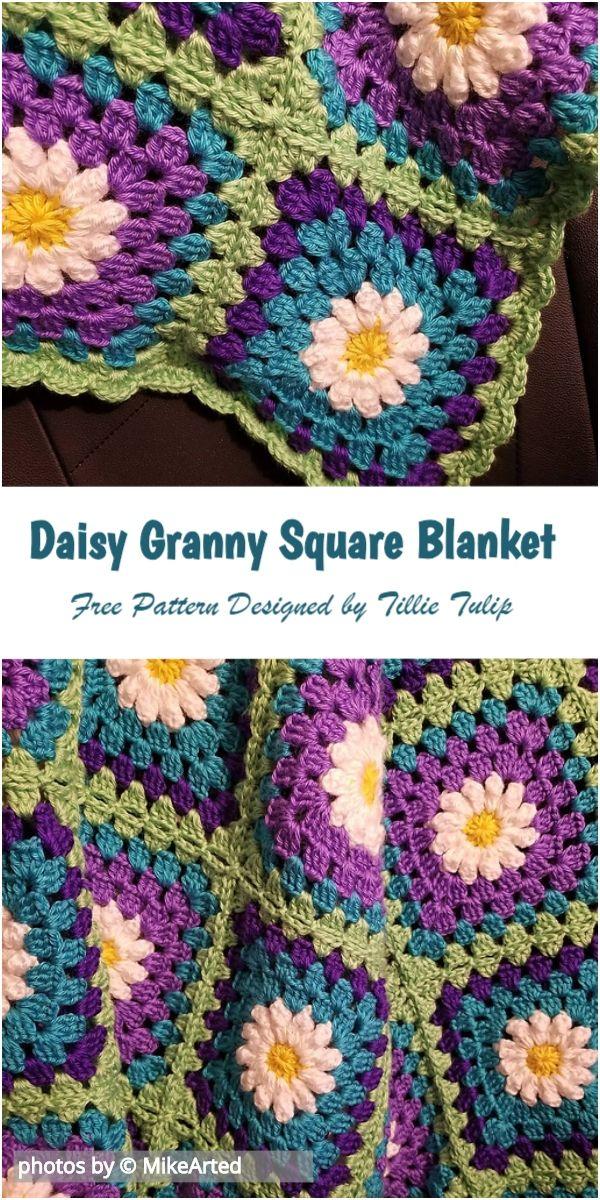 Daisy Granny Square Blanket Crochet Pattern Idea #grannysquares