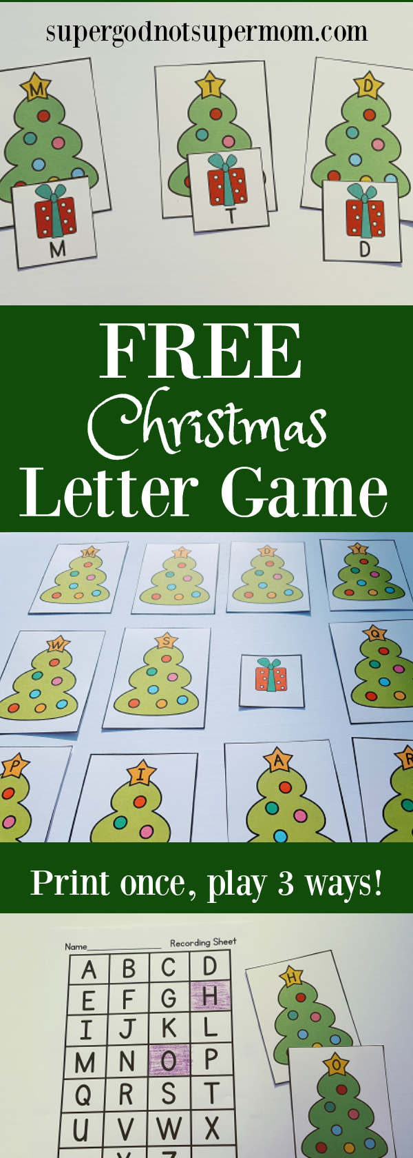 Free Christmas Letter Recognition Game Preschool