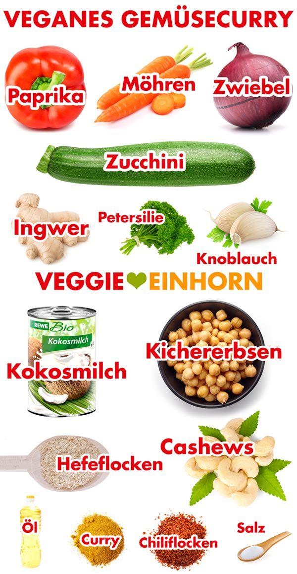 Veganes Gemüsecurry mit Kokosmilch und Kichererbsen | Vegetarisches Rezept