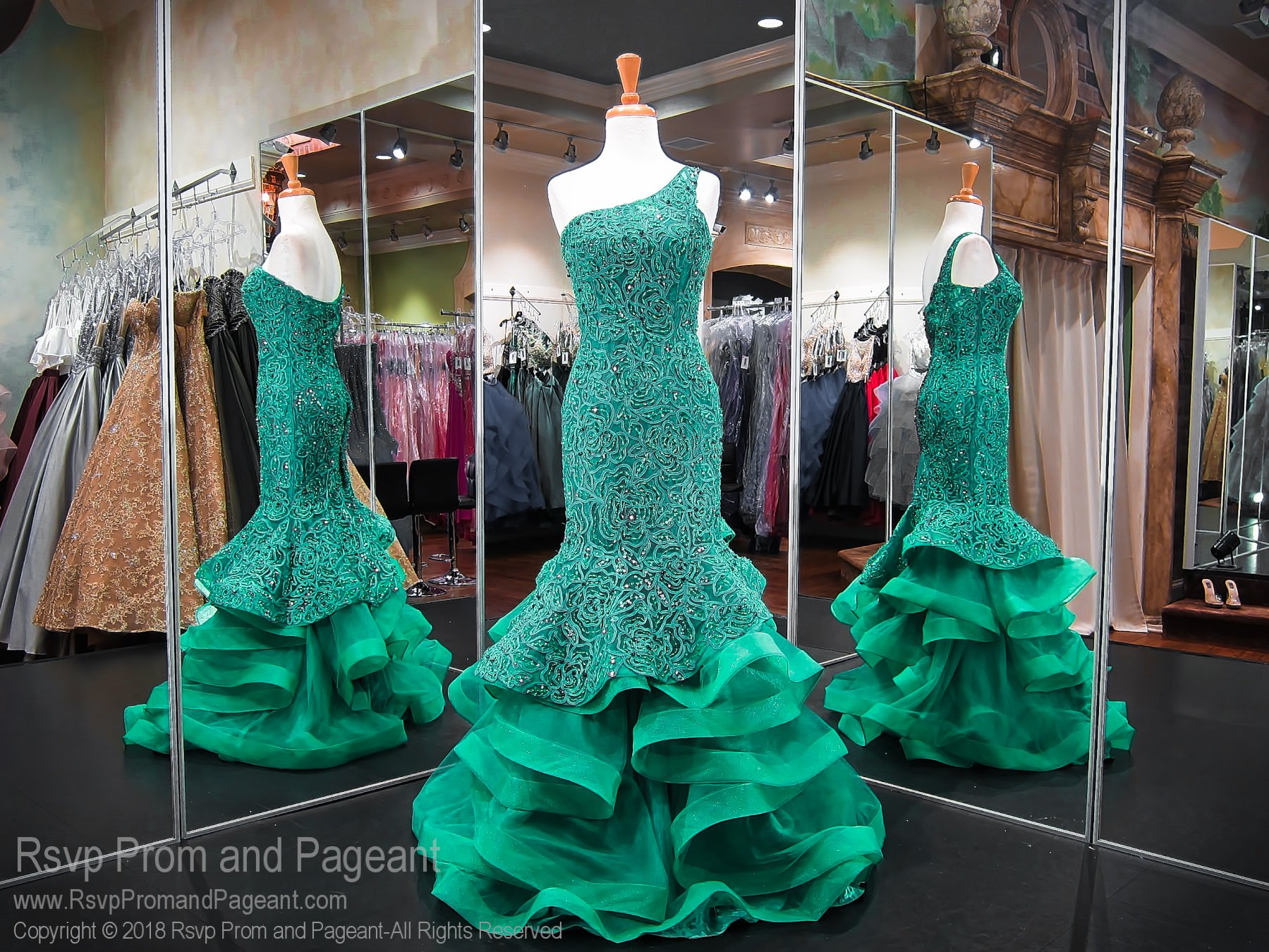 Emerald one shoulder lace mermaid prom dress prom fr
