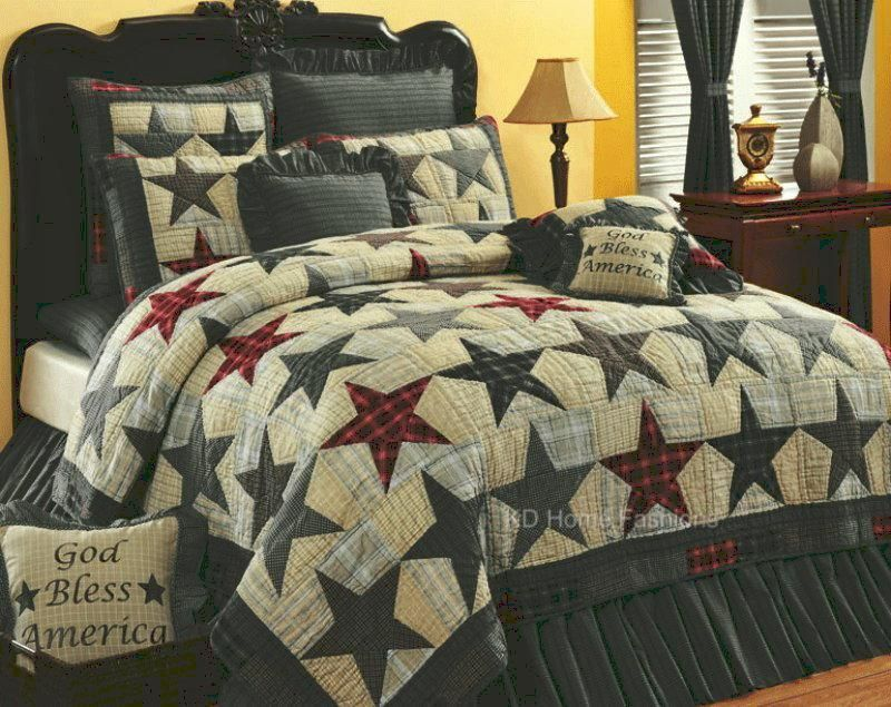Country Quilts And Bedspreads.America Stars Americana Primitive 4pc Quilt Bedding Set