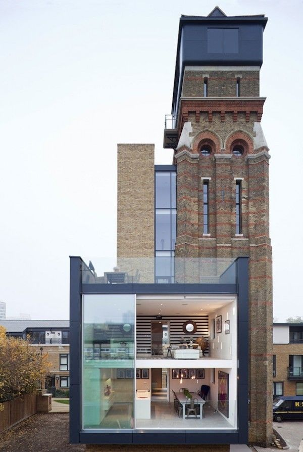 Water Tower Turned London Residence Remember This From Grand Designs? This  Water Tower Conversion Features Some Pretty Impressive Sliding Glass Walls.
