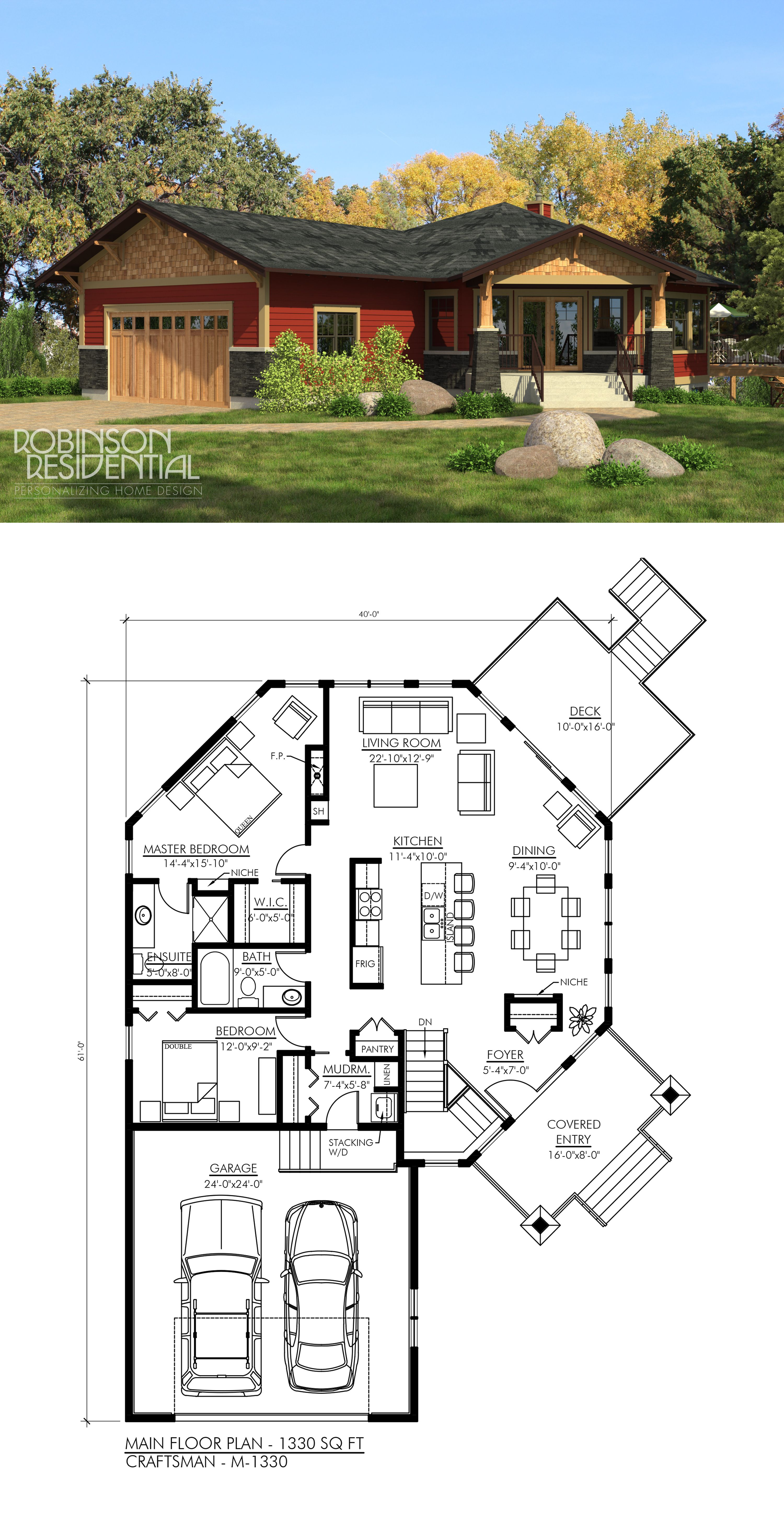 Craftsman M 1327 Robinson Plans Dream House Plans Cottage Plan Craftsman House