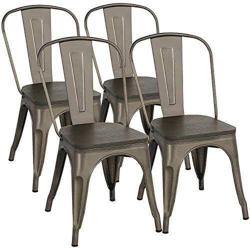 Yaheetech Metal Dining Chairs With Wood Seat Top Stackable Side Chairs Kitchen Deal Furniturev Com Metal Dining Chairs Farmhouse Dining Chairs Dining Chairs