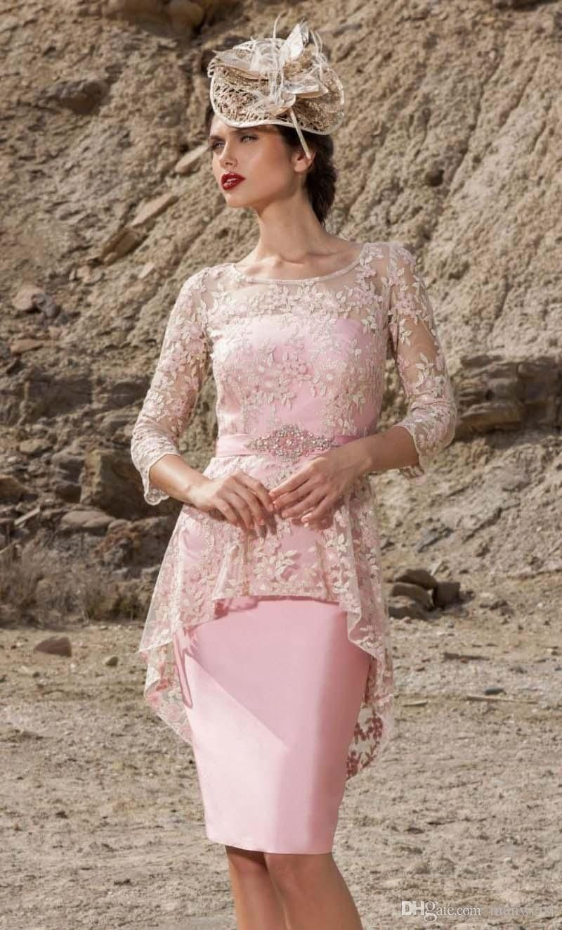 Cheap pink lace mother of the bride dresses sheath knee