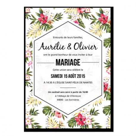 invitation faire parts remerciements tropical flowers wedding invitations et flower. Black Bedroom Furniture Sets. Home Design Ideas