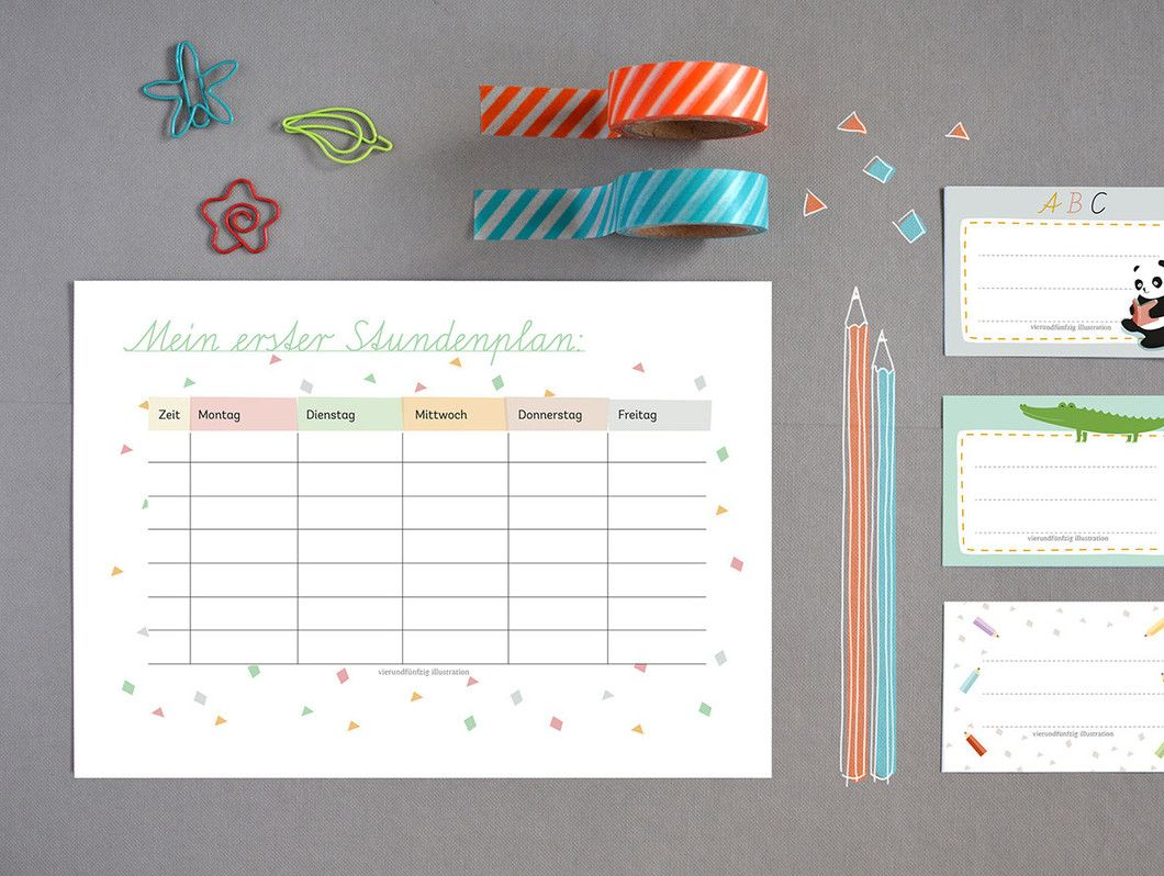Schulanfang - free printable - DIY - vierundfuenfzig illustration ...