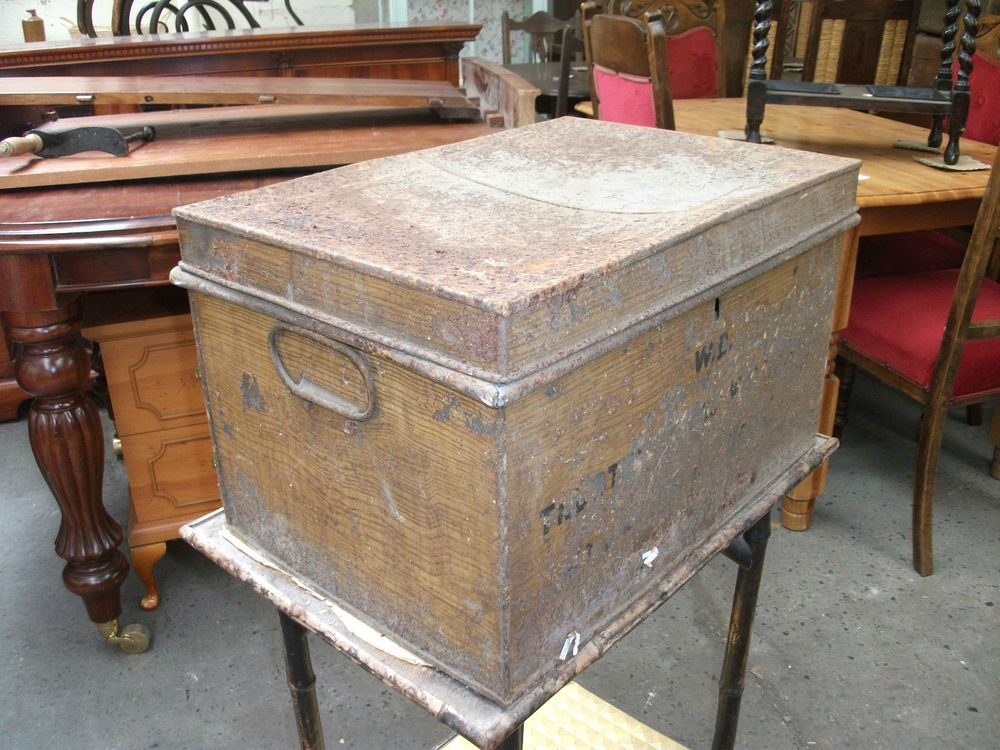 Battered Antique Metal Deed Box Storage Chest Hobby Craft Trunk Vintage Old
