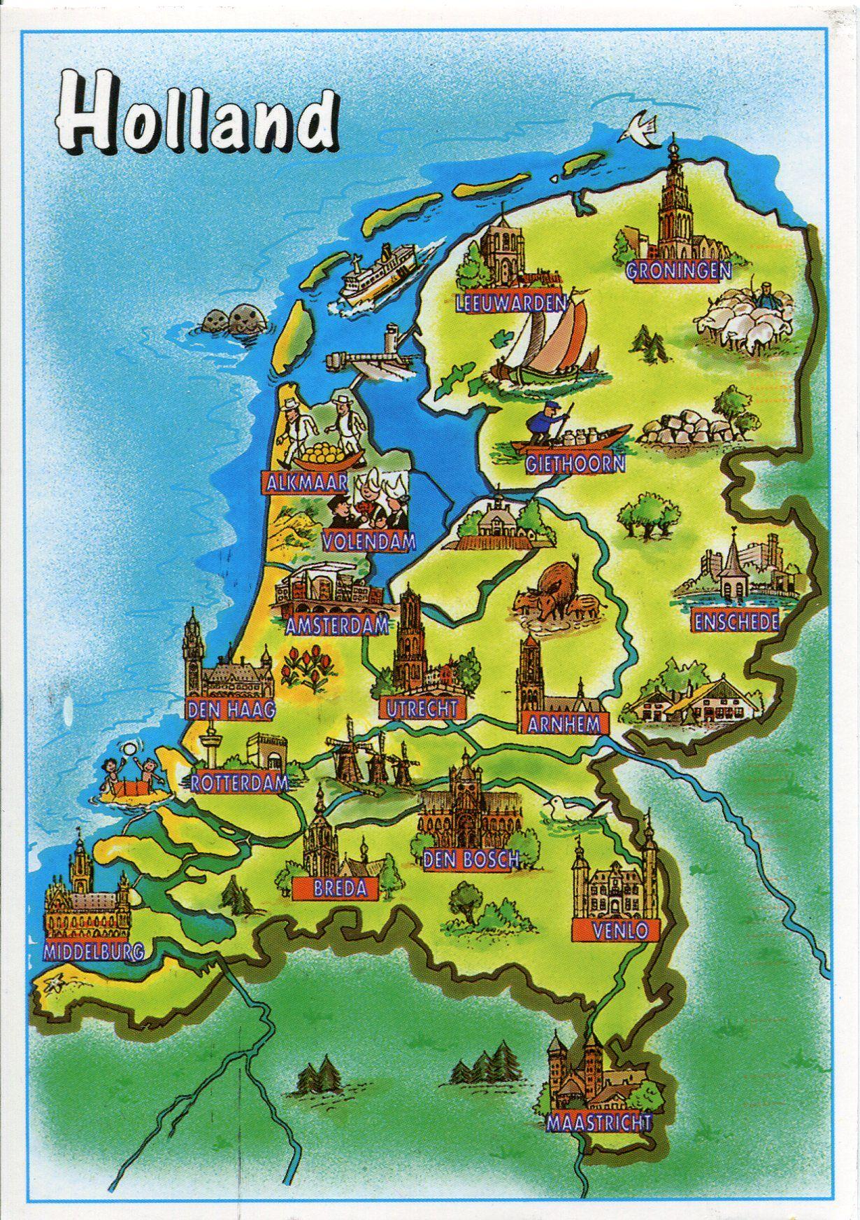 Olanda Cartina Turistica.Holland Netherlands Map Paesi Bassi Mappe Illustrate Carte Geografiche