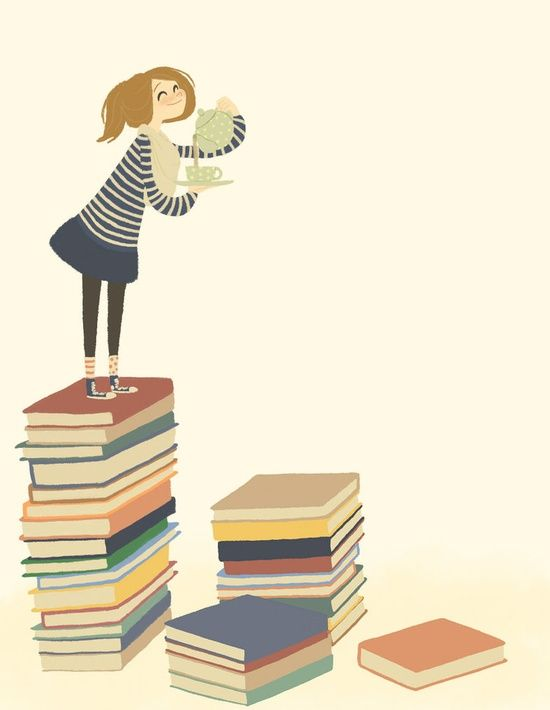tea on a stack of books