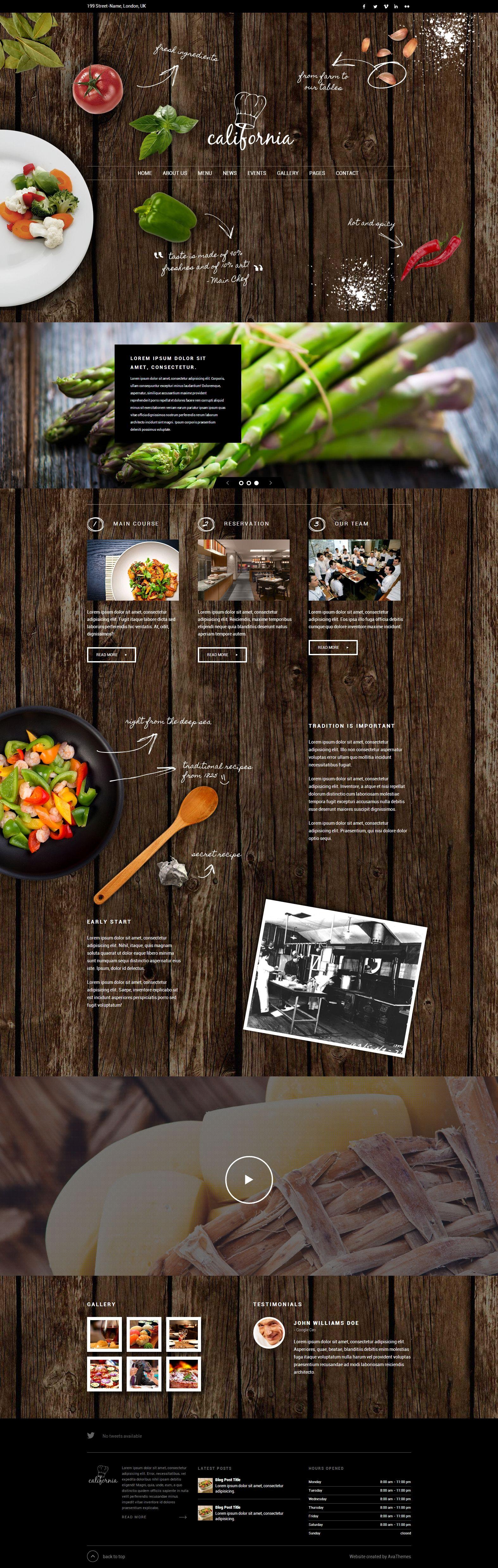 Thème WP cuisine avec image de fond, photos...