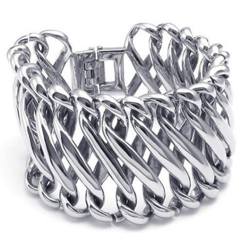 Biker Link Cuff Bangle Black Silver KONOV Mens Stainless Steel Bracelet