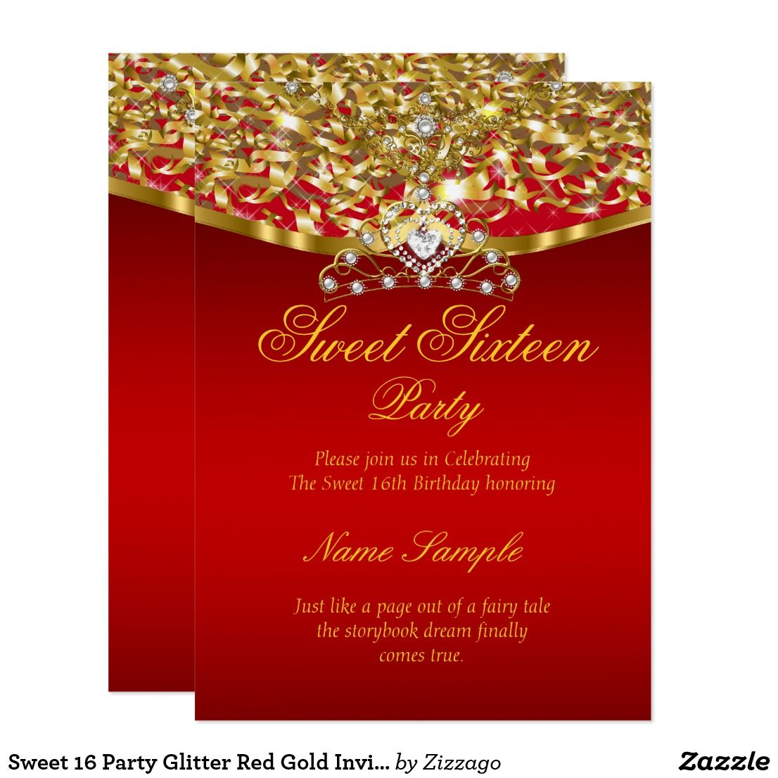 Sweet 16 Party Glitter Red Gold Invitation | Pinterest | Gold ...