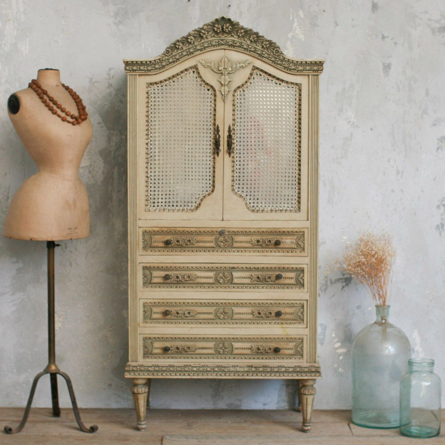 One of a Kind Vintage Armoire Olive Beige Country