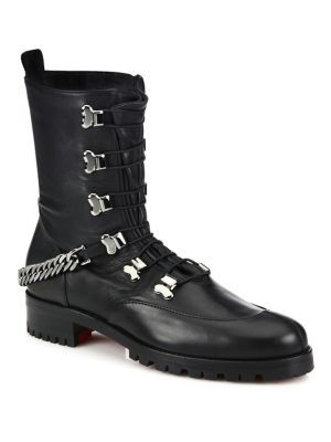 58b14e0af56 CHRISTIAN LOUBOUTIN Chain Leather Combat Boots.  christianlouboutin  shoes   boots