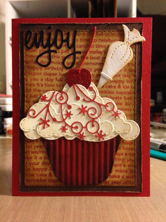 handmade birthday card birthday cupcake wishes  etsy