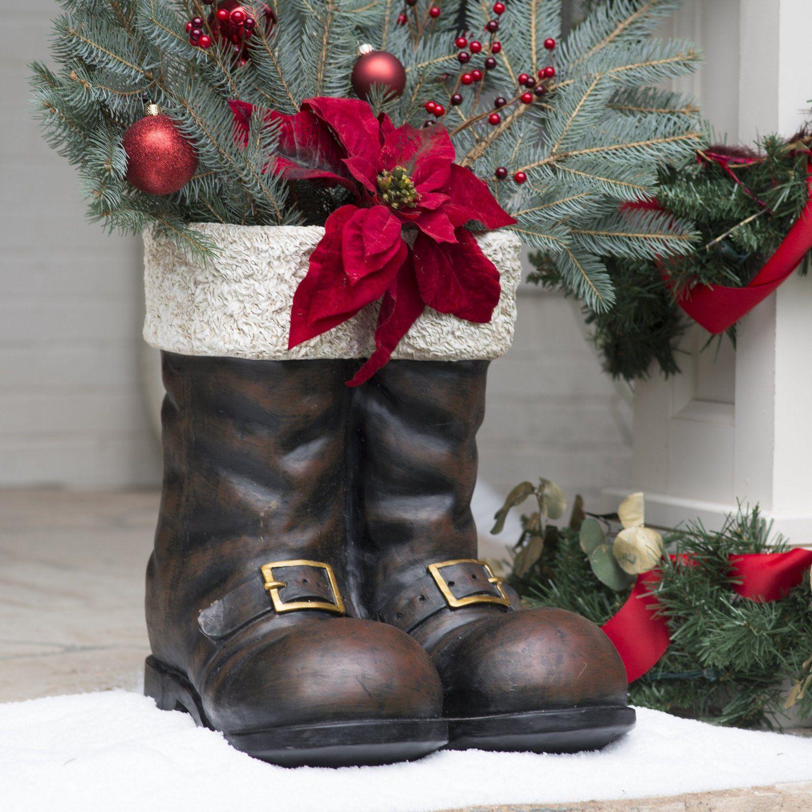 Santa Boots Claus Costume Christmas Home Decor Antiqued Brown Gold New Description A Perfect Seasonal Touch Santa Boots Christmas Boots Grey Christmas Decor