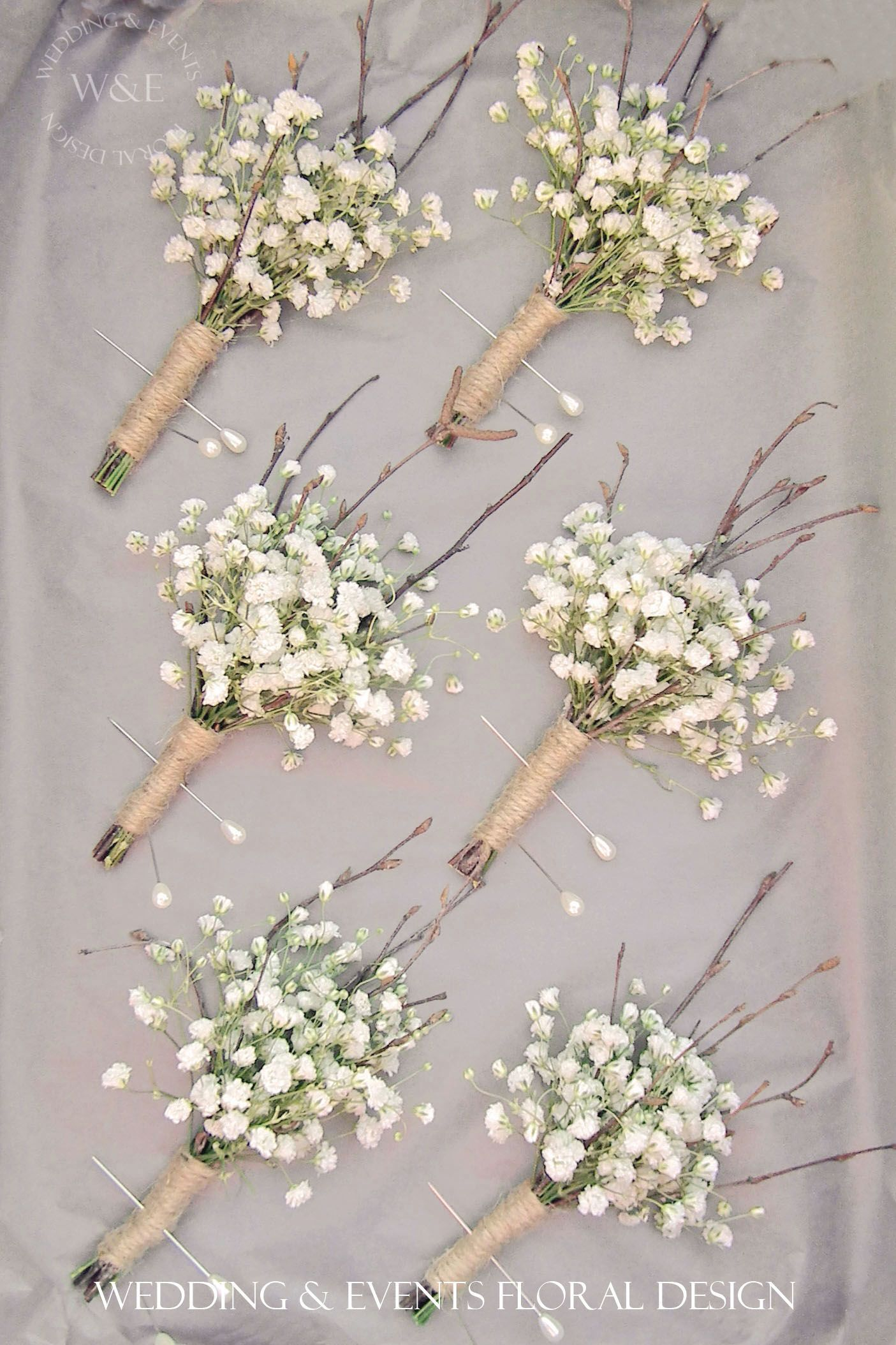 Gypsophila Twigs Twine Buttonholessimple but
