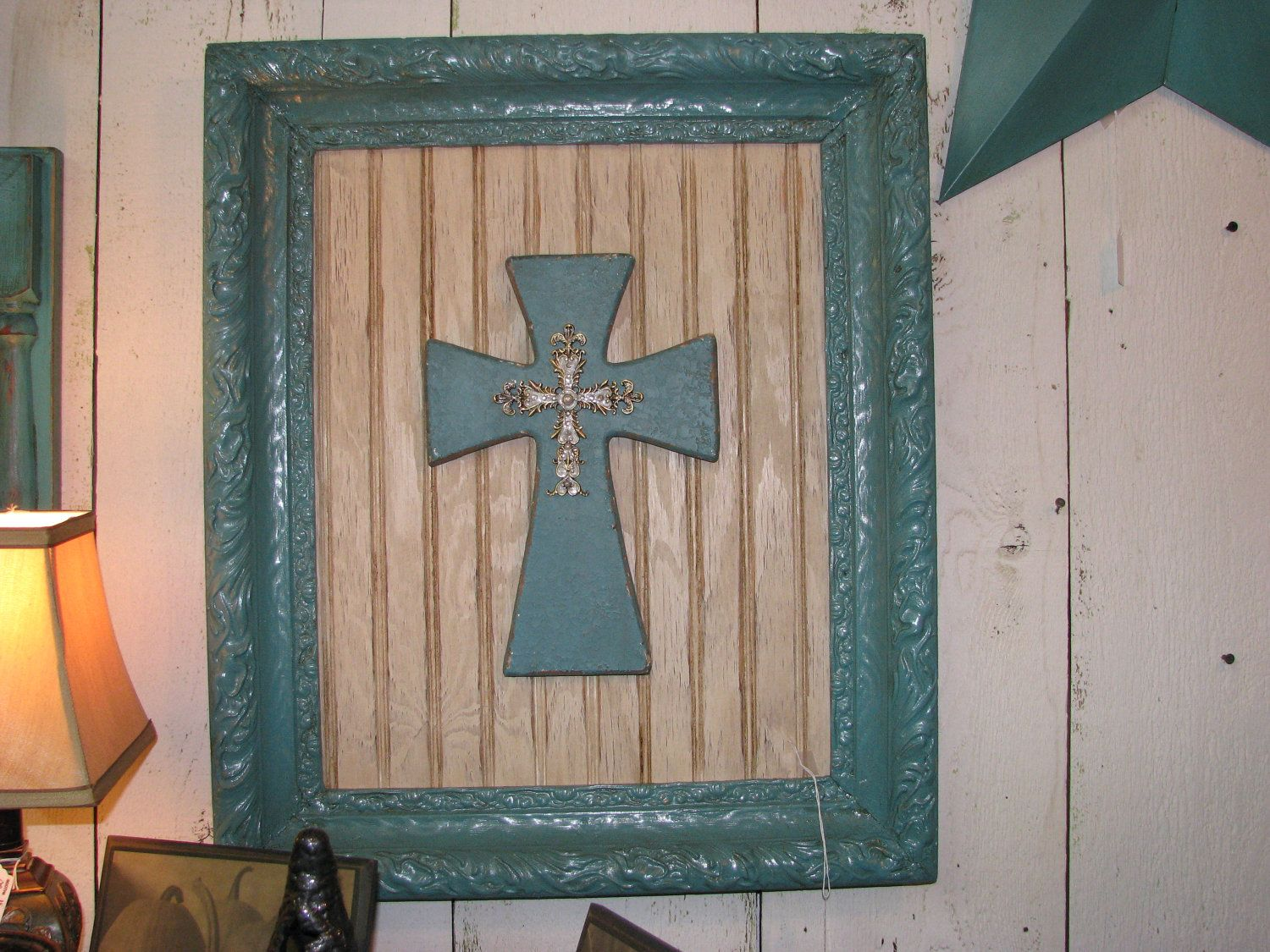 Exceptionnel Shabby Chic, Rustic ,faith, Home Decor, Turquoise Framed Cross Wall Art.