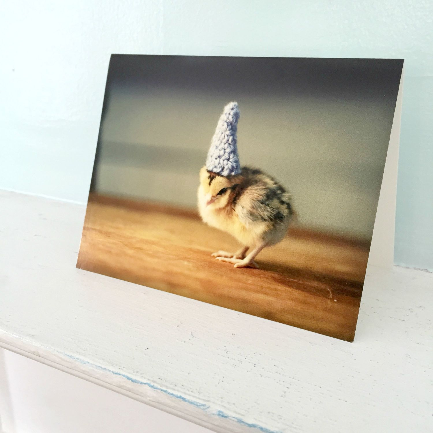 Greeting Card Chick in Pointy Blue Crocheted Hat Baby Animal Greeting Chicken Stationary