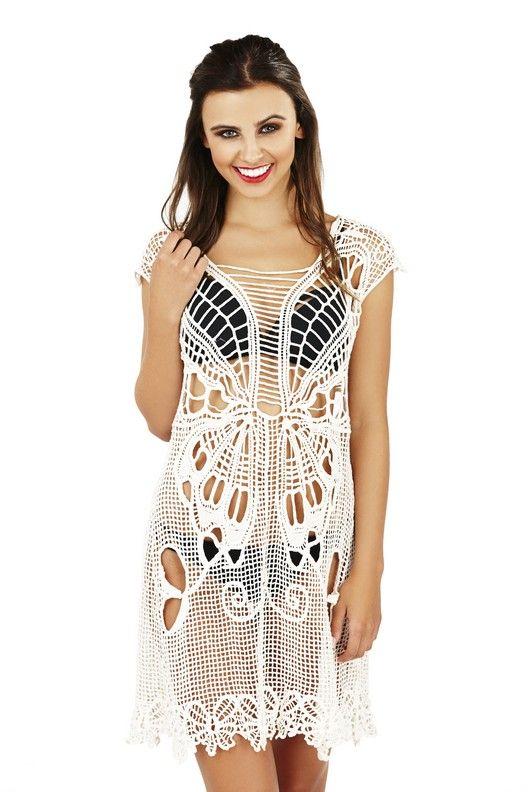 Ladies beachwear butterfly swirl cotton crochet top.