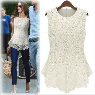 2014 New Fashion Lace 3D Flower Hollow Out Women Shirt Back Zipper Sleeveless Blouses Round Neck Basic Shirts Plus Size XXXL