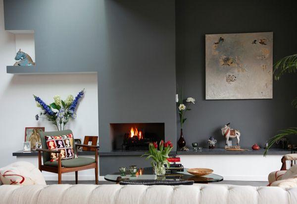 Kamin Streichen grau als trendfarbe eklektisch und gemütlich mit kamin farben