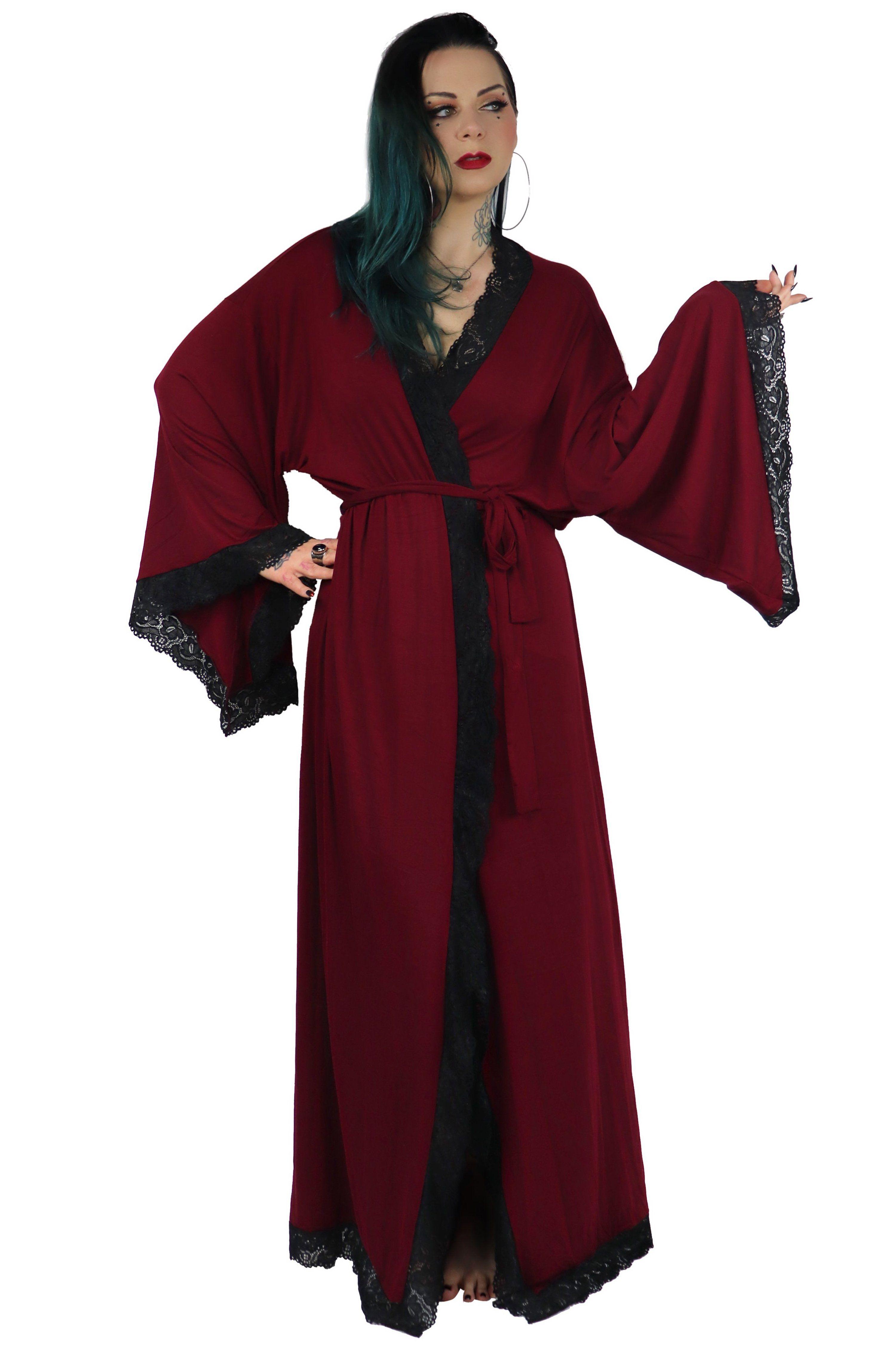 Bathory Dressing Robe Red Wine Limited Edition Foxblood Shop Fashion Stretch Cotton Robe