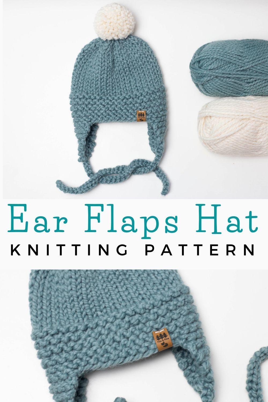 Ear Flaps Hat Knitting Pattern Baby Children Women