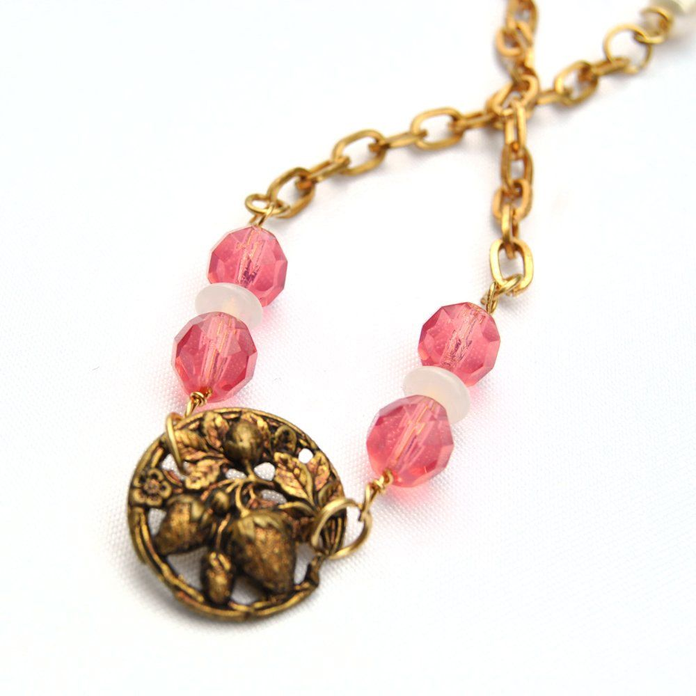 Antique button jewelry bracelet strawberry shortcake for Strawberry shortcake necklace jewelry