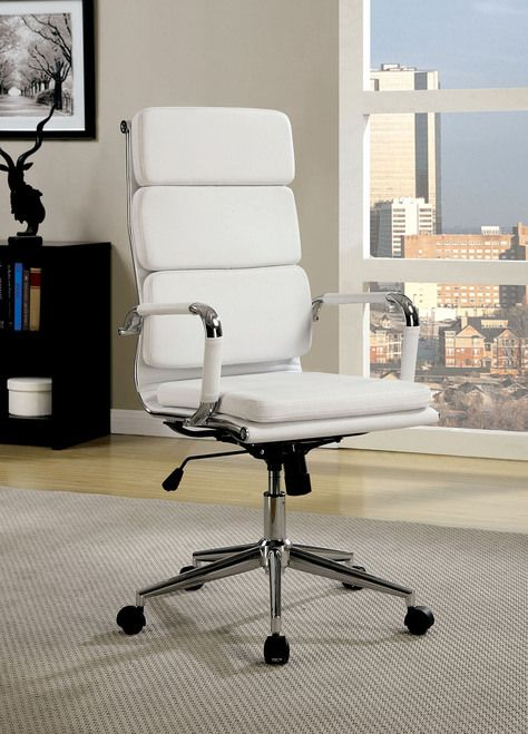 Furniture Of America Mercedes Collection High Back White Office Chair CM FC636LWH