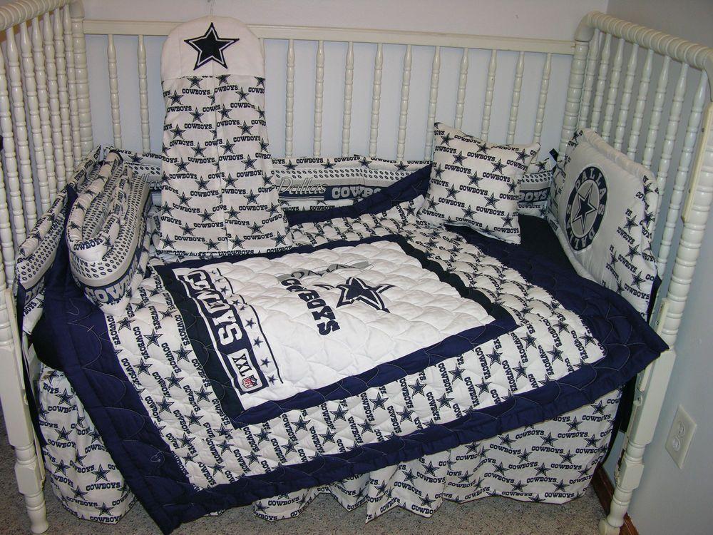 Crib Bedding Nursery Set Made W Dallas Cowboys Double Batting So Cute Handcrafted