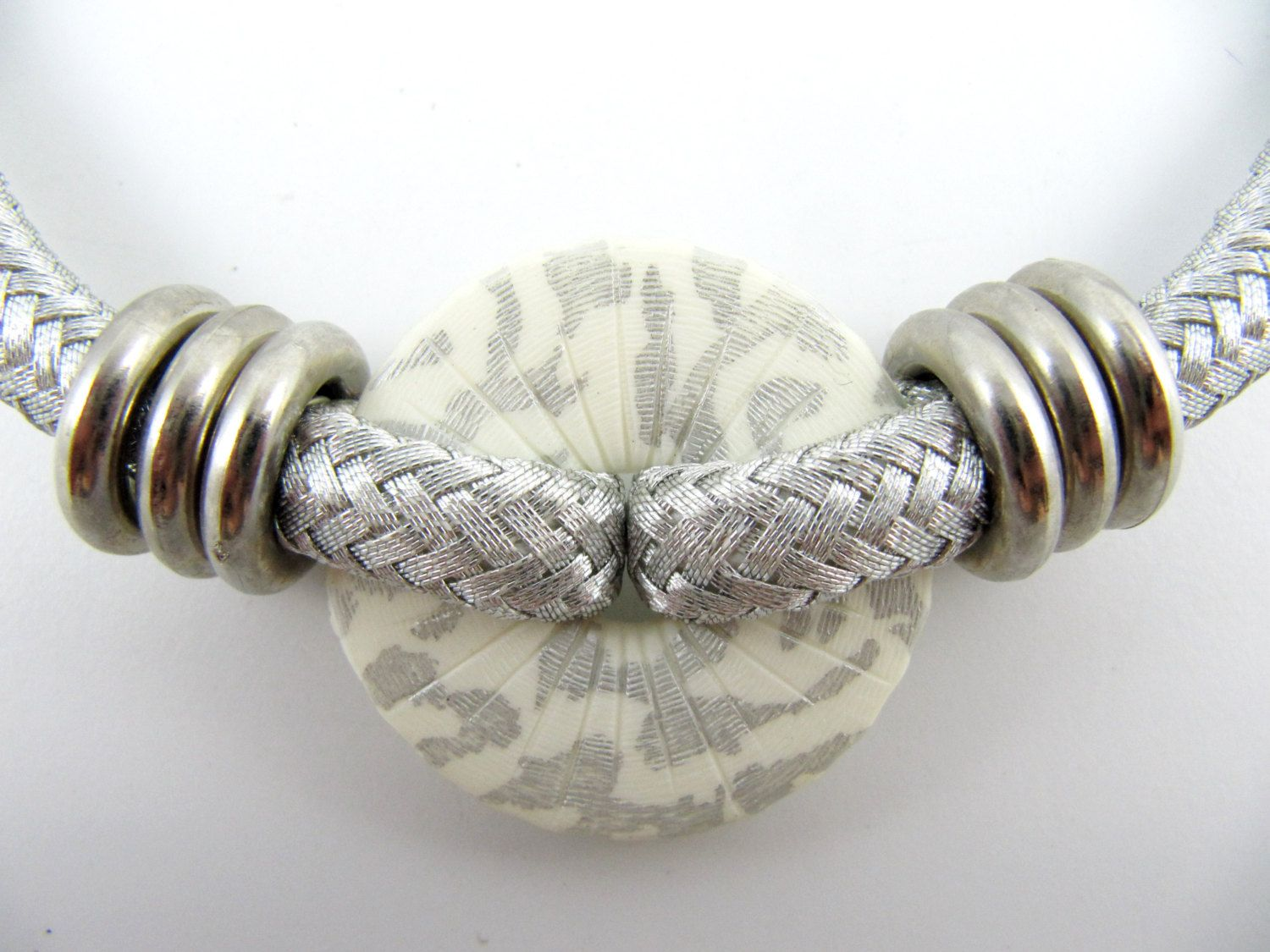 Vintage 80\'s Silver Tone Woven Mesh Rope Choker Necklace with ...
