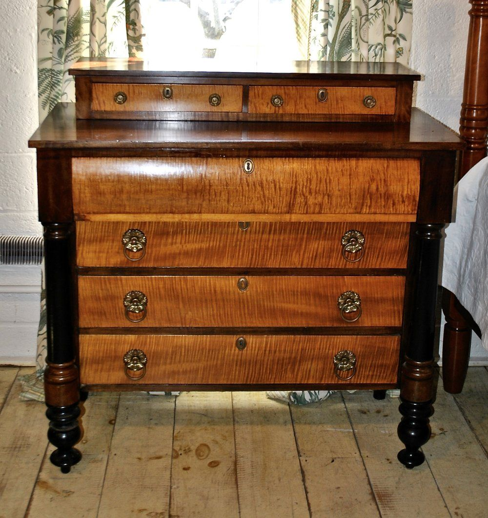 Affordable Retro Furniture: Empire Chest In Tiger Maple & Birch, Circa 1840