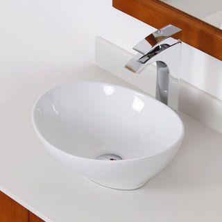 Elite White Ceramic Oval Bathroom Sink By