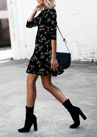 Classically chic silk shirt dress block heel ankle boots cute spring outfits transitional ...