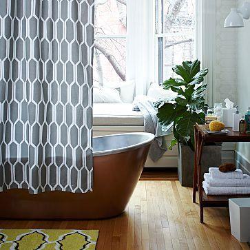 Honeycomb Shower Curtain Westelm Bathroom Furniture Modern