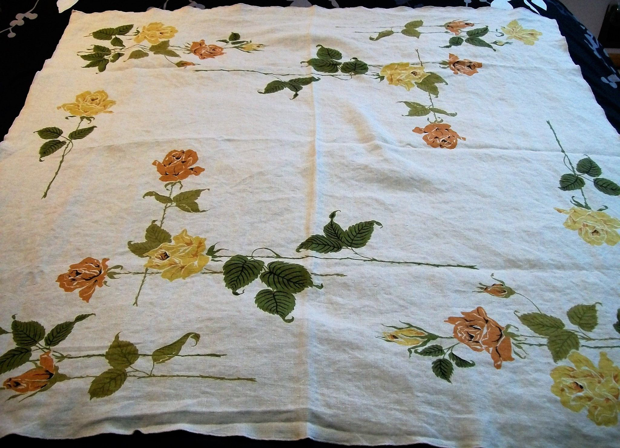 Vintage Tablecloth From With Yellow Roses Small